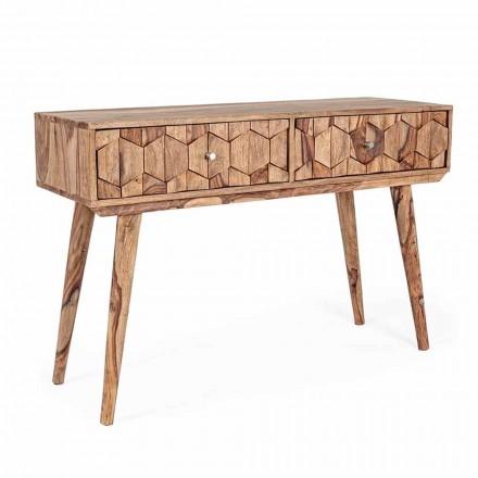 Konzole ze dřeva Sheesham se dvěma zásuvkami Luxusní design Homemotion - Fregene