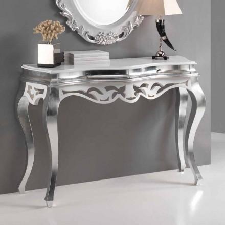 Konzole v klasickém stylu dřeva, stříbrné provedení a bílé Kréta