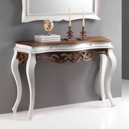Konzola klasický styl dřevěné, starožitný bílý povrch a ořech Creti
