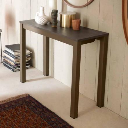 Rozšiřitelná moderní stolní konzola z dubového dřeva a kovu vyrobená v Itálii - Nappo