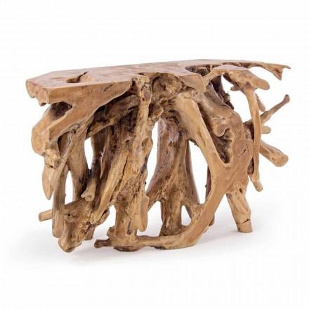 Konzola s technickým designem s kořeny přírodního teaku - rohovník