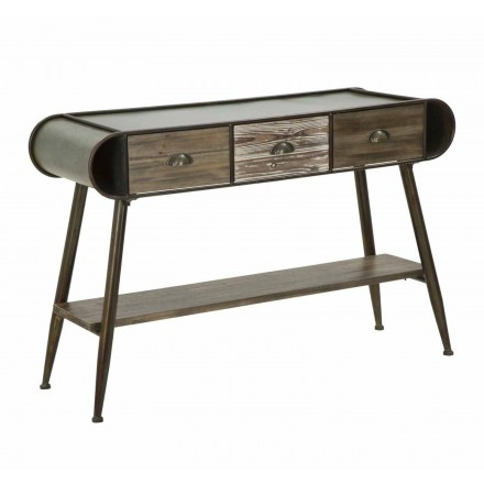 Konzola obdélníkového moderního designu v železe a dřevu - Marek