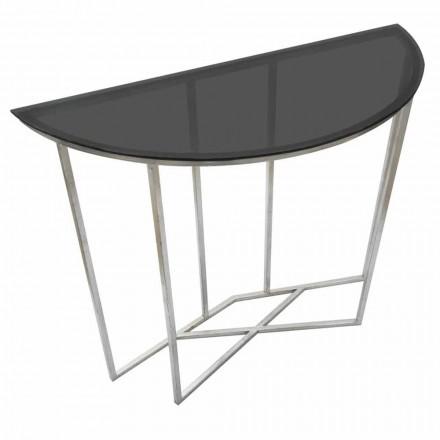 Moderní styl konzoly v půlkruhu v železe a skle - Augusta