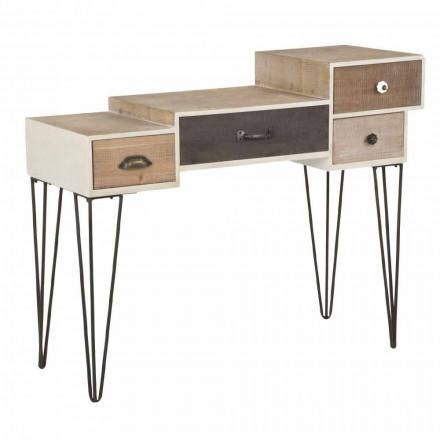 Konzole se zásuvkami Moderní průmyslový styl ve dřevě a kovu - Lille