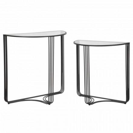 Dvojice konzolí moderního designu v železe a skle - Ferdie