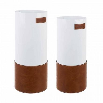 Dvojice moderního stojanu na deštníky z oceli a koženky Homemotion - Umbro