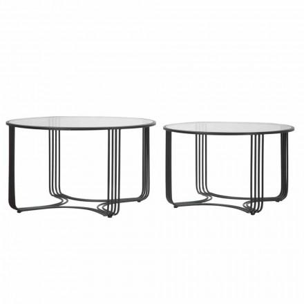 Dvojice moderních kulatých stolů s nízkou kávou ve skle a železě - Mirna