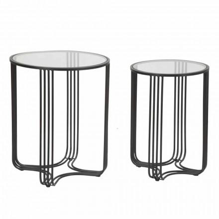 Dvojice kulatých kávových stolů ve skleněném a železném moderním designu - Ezra