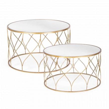 Dvojice kulatých konferenčních stolků ve skle a oceli Homemotion - Amarillide