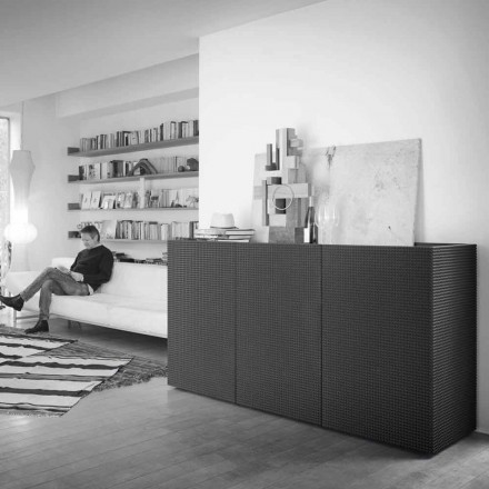Víra moderní design černá s 2 dveřmi a výsuvné zásuvky Flora