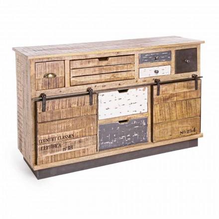 Příborník se strukturou v mangovém dřevě a oceli v průmyslovém stylu - Vidia
