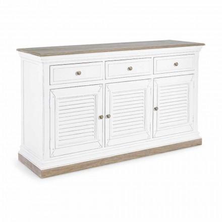 Příborník v klasickém designu ze dřeva Mango se 3 dveřmi a 3 zásuvkami - Baffy