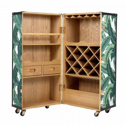 Designový příborník s koly v provedení Mdf, dýhované dřevo a látka - Amazonia