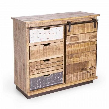 Příborník ze dřeva a oceli s dveřmi a 4 zásuvkami v průmyslovém stylu - Renza
