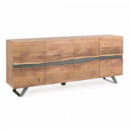 Příborník ze dřeva a lakované oceli s moderním designem Homemotion - Silvia