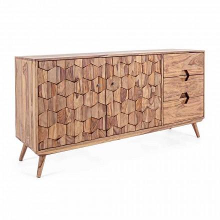 Příborník z přírodního dřeva se dveřmi a zásuvkami Homemotion - Ventador