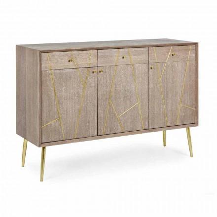 Příborník z teakového dřeva s ocelovými vložkami ve stylu Vintage - Mayra