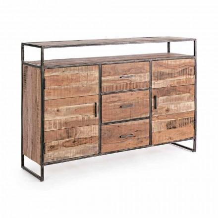 Moderní příborník se strukturou z akáciového dřeva a oceli Homemotion - Posta