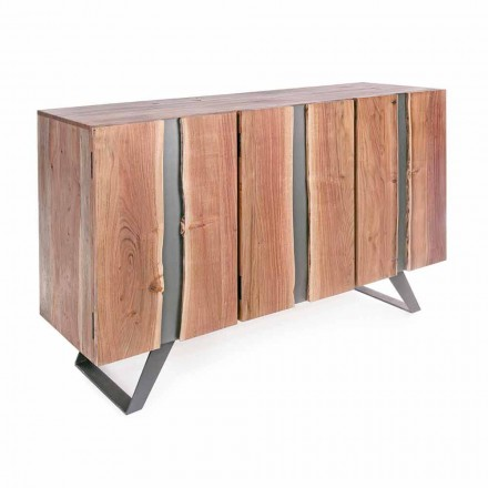 Moderní příborník z akátového dřeva s kovovými vložkami Homemotion - Sonia