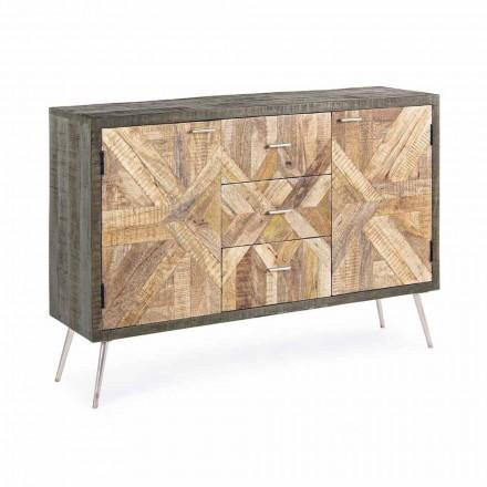 Příborník ve stylu Vintage s dřevěnou konstrukcí a ocelovými detaily - Adiva