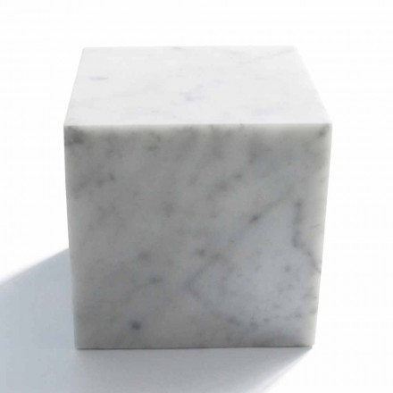 Cube Design Paperweight in Satin White Carrara Marble Vyrobeno v Itálii - Qubo