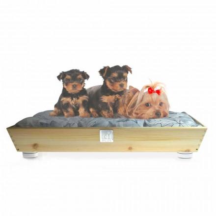 Chovatelská stanice psů a koček z masivního dřeva s madly a polštářem vyrobená v Itálii - Lyn
