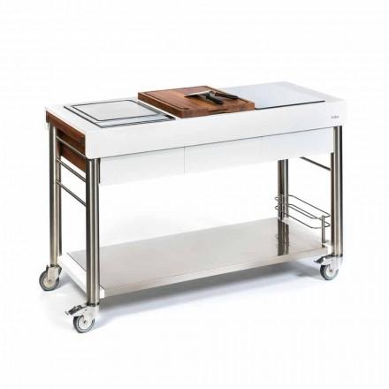 Venkovní kuchyně na kolech designu, vysoká kvalita dřeva a oceli - Calliope