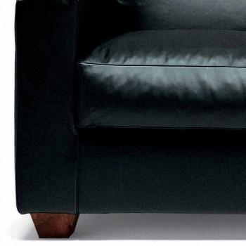 2místná kožená pohovka s nohami z ořechového dřeva vyrobena v Itálii - Alessandria