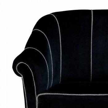 2místná pohovka z černého sametu s kontrastním prošíváním Made in Italy - Caster