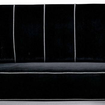 3místná pohovka čalouněná sametem s bílým prošíváním Made in Italy - Caster