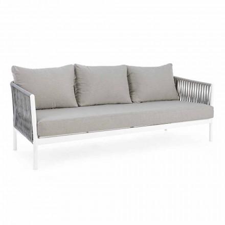 Homemotion - Rubio 3 Seater Design venkovní pohovka v bílé a šedé barvě