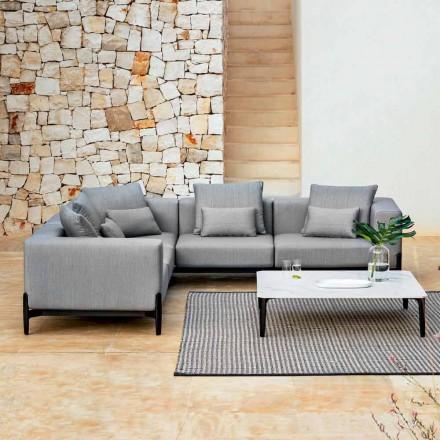 5místná venkovní rohová pohovka z hliníku, 3 povrchové úpravy, luxusní - Filomena