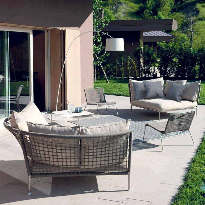 Circular Garden Sofa Fabric Dove-grey Vyrobeno v Itálii - Ontario4