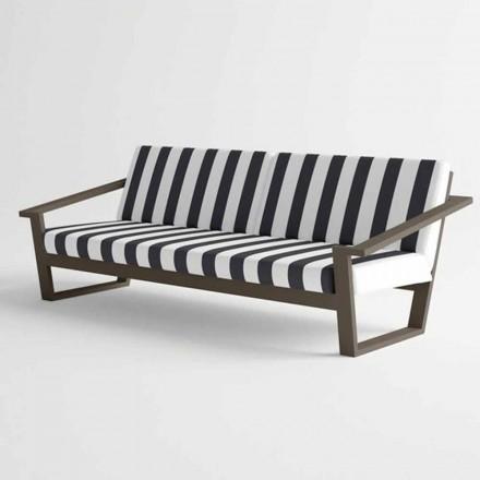 Venkovní pohovka pro 2 nebo 3 sedáky v moderním hliníku a tkanině - Louisiana
