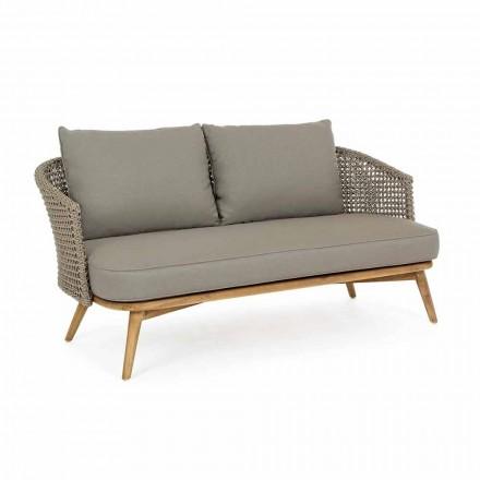 Venkovní pohovka ve 2 nebo 3 sedadlech ve dřevě a Dove-Grey Homemotion Fabric - Luana