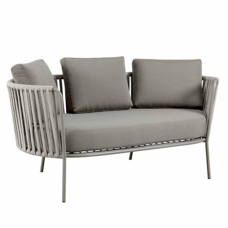 2 sedačka venkovní pohovka z kovu, tkaniny a lana Vyrobeno v Itálii - Mari
