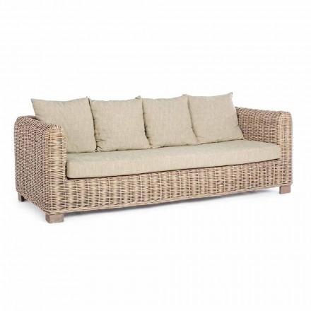 Homemotion - Ceara 3 Seater Design venkovní pohovka ve dřevě a ratanu