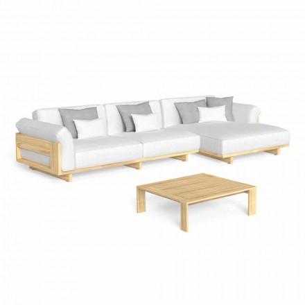 Venkovní salonek s luxusní dřevěnou pohovkou a konferenčním stolkem - Argo od Talenti