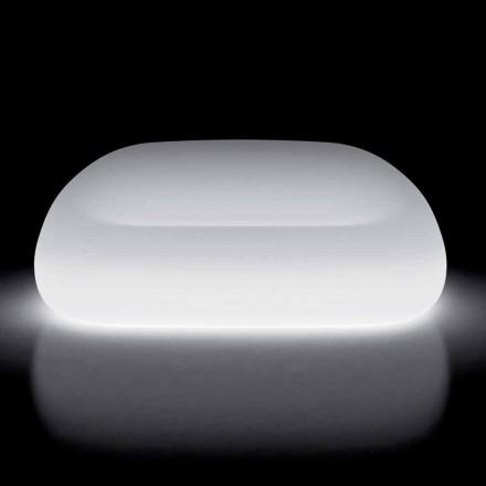 Světlá venkovní pohovka s LED světlem z polyethylenu vyrobená v Itálii - Ervin