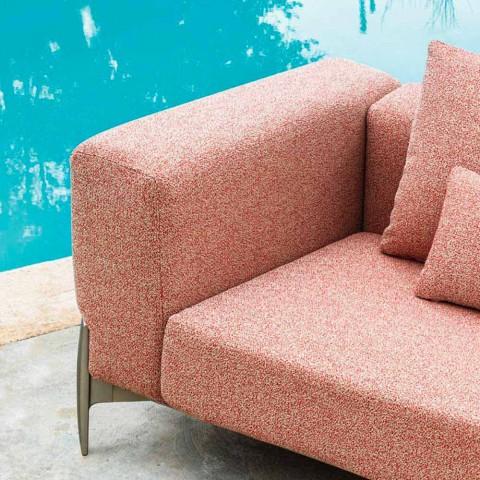 3místná zahradní pohovka s prodloužením, design z hliníku a tkaniny - Filomena