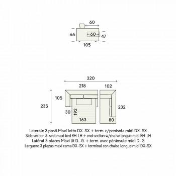 Designová rohová rozkládací pohovka v béžové látce vyrobená v Itálii - Ortensia