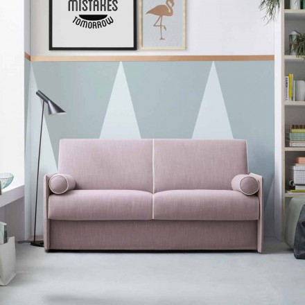 Rozkládací pohovka v bledě růžové látce s bílým okrajem vyrobená v Itálii - mák