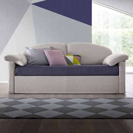 Moderní rozkládací pohovka čalouněná v dvoubarevné látce vyrobená v Itálii - Kayla