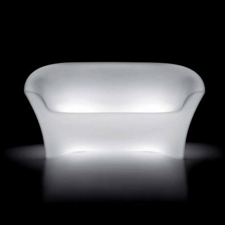 Venkovní světlá pohovka z polyethylenu s LED světlem vyrobená v Itálii - Conda
