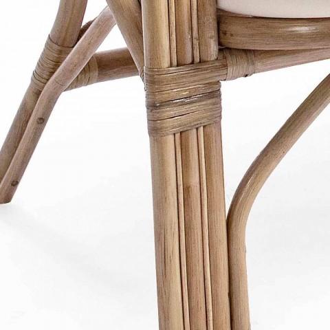 2 sedačka venkovní pohovka pro zahradu v ratanových bílých polštářích - Maurizia