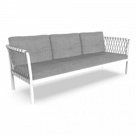 Moderní zahradní pohovka se třemi sedáky z hliníku a tkaniny - Sofy by Talenti