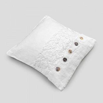 Bílý čtvercový povlak na polštář s krajkou a italskými luxusními knoflíky - loga