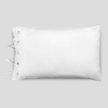 Povlečení na polštář s bílou krajkou, luxusní design vyrobený v Itálii - polibek