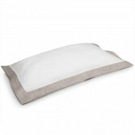 Dvoubarevný polštář v bílé a přírodní prádlo vyrobené v Itálii - mák