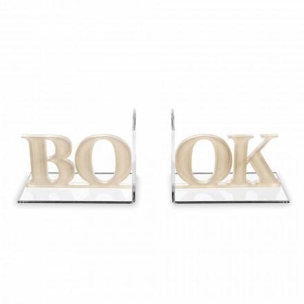 Designové záložky v psané knize z béžového nebo bílého plexiskla - Febook
